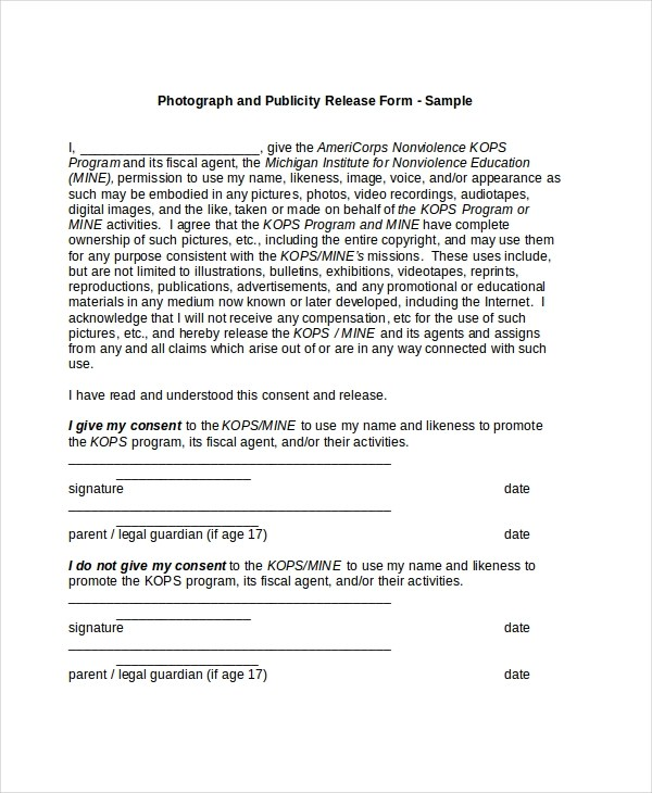 Sample Picture Release Form - 11+ Free Documents in PDF, Doc - legal release form template