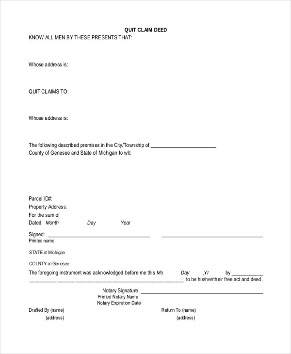 Quit Claim Deed Form Word | Resume Sample Usajobs