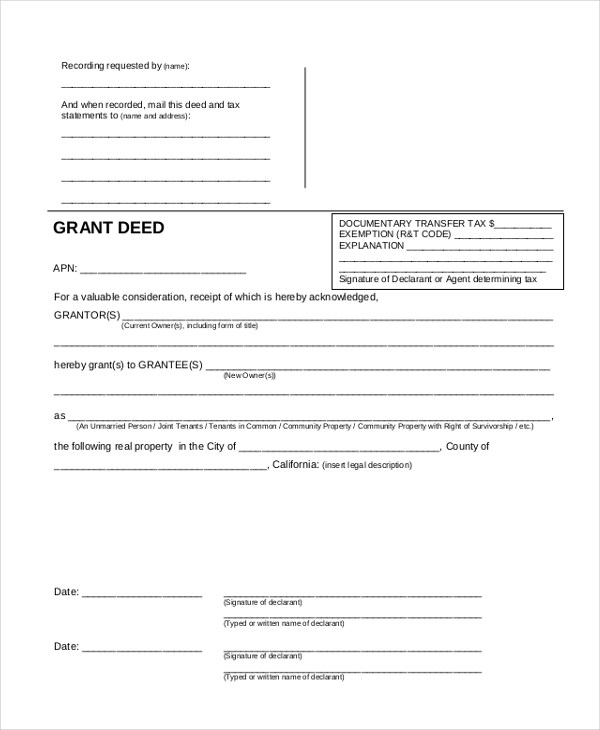 Sample Property Transfer Form - 8+ Free Documents in PDF - grant deed form