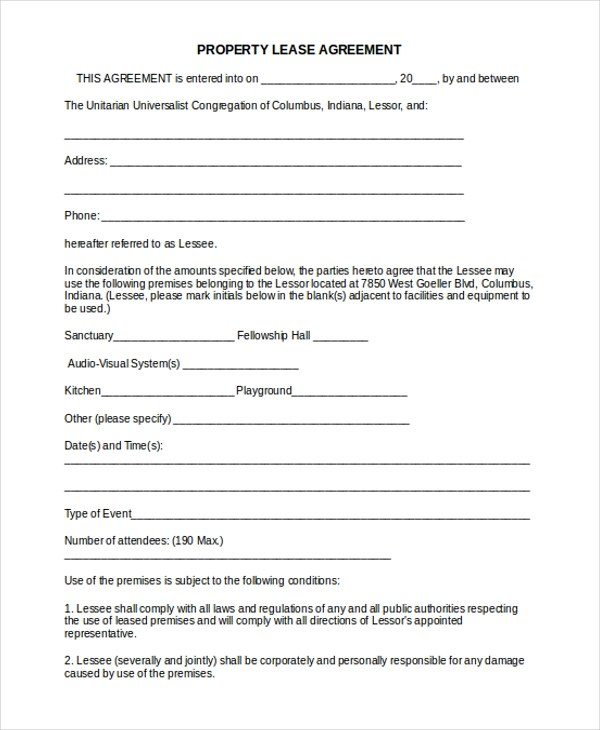 16+ Sample Lease Agreement Forms - Sample, Example, Format - property lease agreement template
