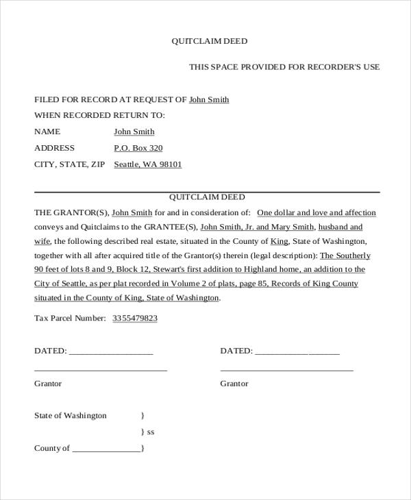 quick claim deed form - Patrofiveloclub - quick deed form