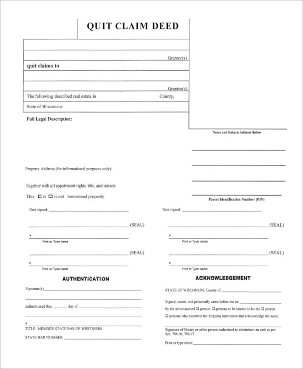 Sample Quick Claim Deed Form - 7+ Free Documents in PDF - quick claim deed
