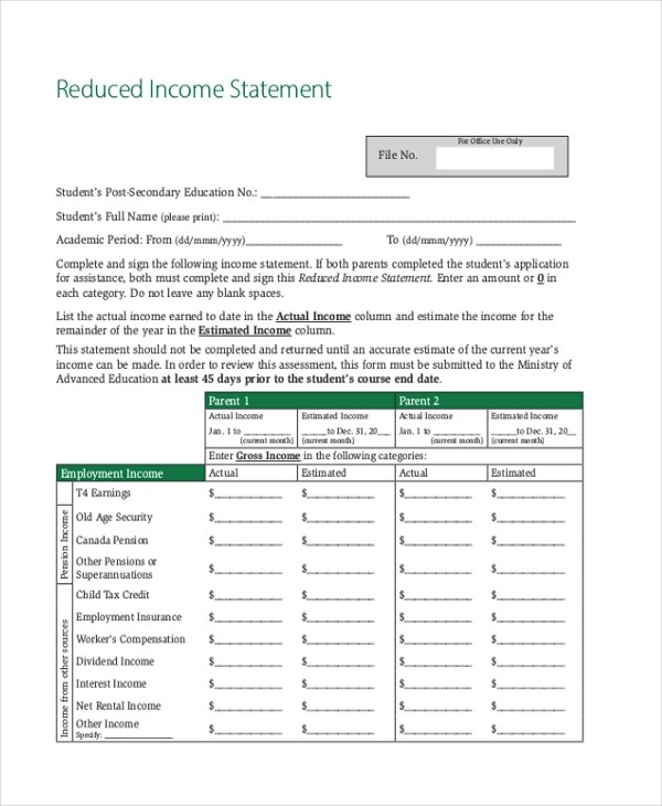free statement forms dzeo - blank income statement form