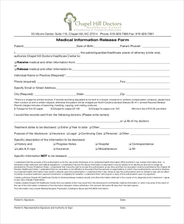 Medical Information Release Form Overnight Trip Form - sample medical records release form