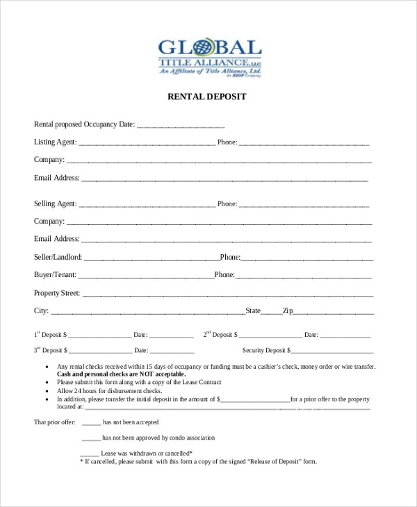 Sample Deposit Forms - 16+ Free Documents in PDF