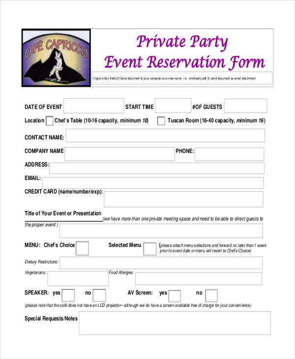 Sample Restaurant Reservation Form - 9+ Free Documents in PDF