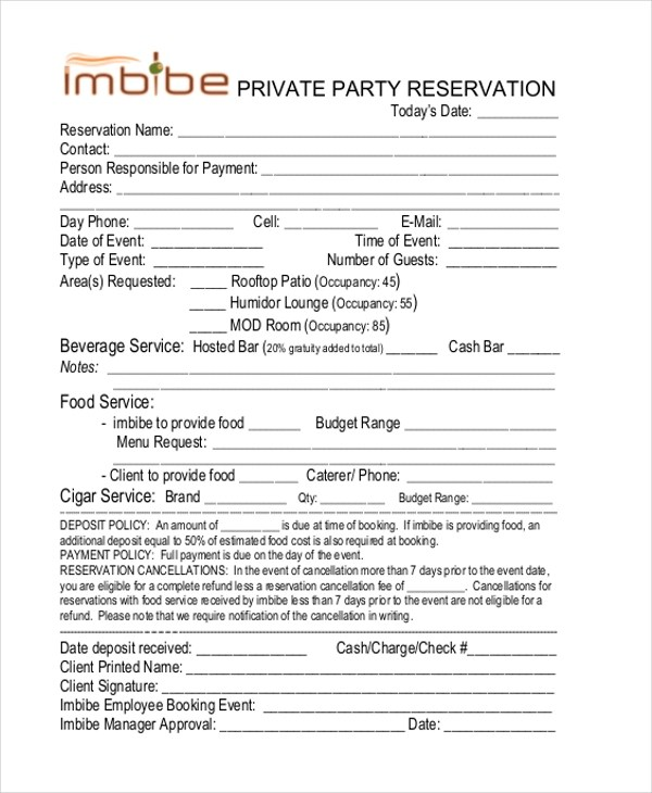 Sample Restaurant Reservation Form - 9+ Free Documents in PDF - free reservation forms