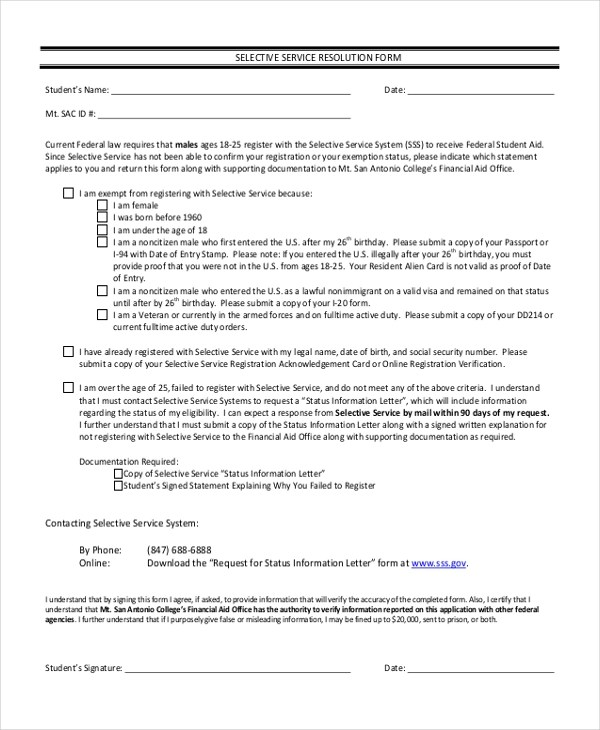 Sample Selective Service Forms - 10 + Free Documents in PDF - selective service registration form
