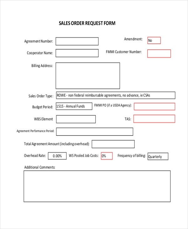 Sample Sales Order Form - 9+ Free Documents in PDF - sales order form