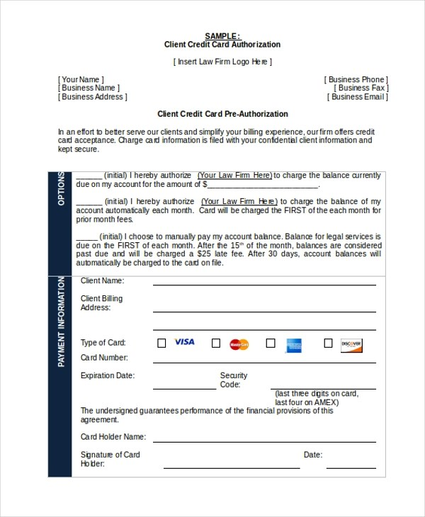 Sample Credit Card Authorization Form - 12+ Free Documents in Word, PDF