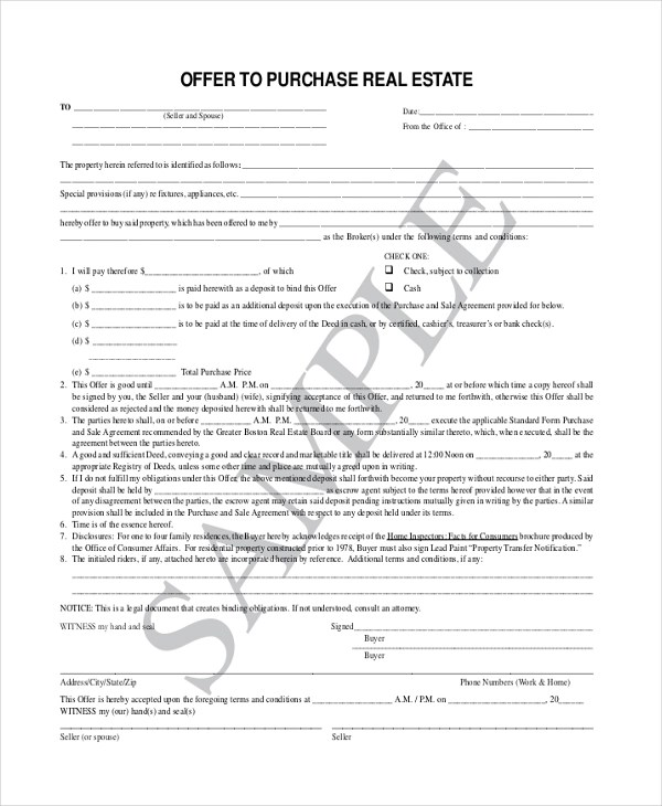 Sample Offer To Purchase Real Estate Form - 7+ Free Documents in PDF