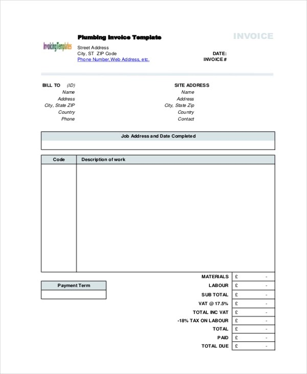 Sample Invoice Form - 10+ Free Documents in PDF - sample plumbing invoices