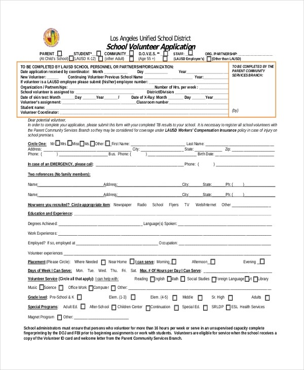 Sample Volunteer Application Form - 8+ Free Documents in PDF - school volunteer form template
