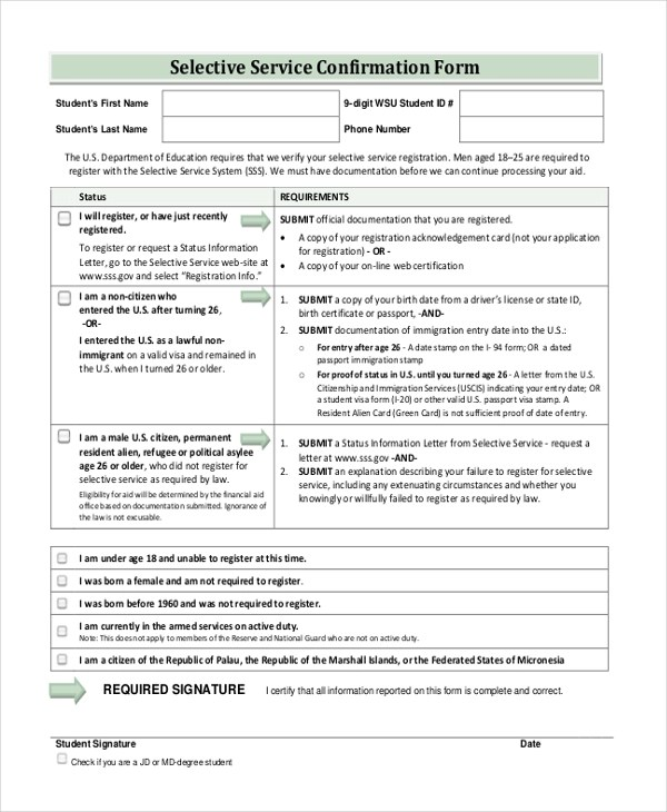 Sample Selective Service Forms - 10 + Free Documents in PDF
