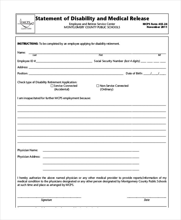 Sample Social Security Disability Form - 8+ Free Documents in PDF