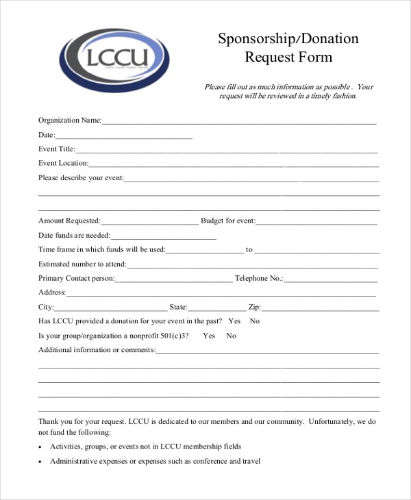 sponsorship request form template trattorialeondoro - Blank Sponsorship Forms
