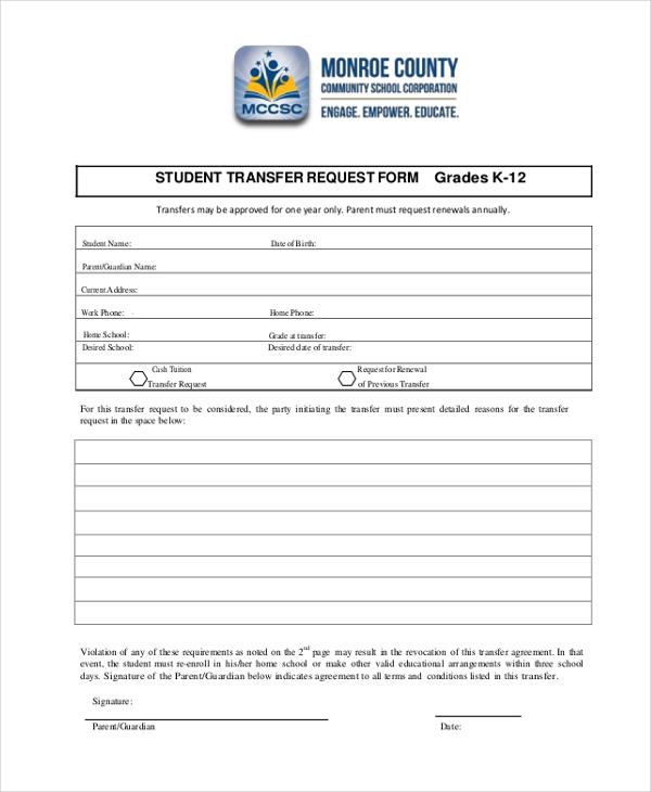 Transfer Request Form Employment Verification Forms Job Transfer - student request form