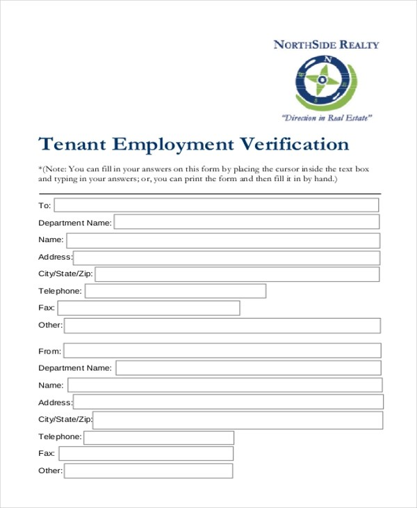 Sample Tenant Verification Form - 8+ Free Documents in PDF - Tenant Information Form