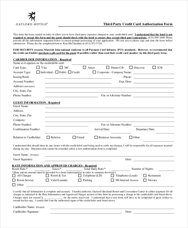 third party credit card authorization form - Solidgraphikworks