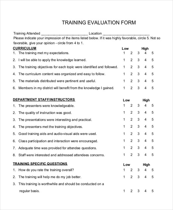 Trainer Evaluation Form Fitness Assessment Check List For - training survey template