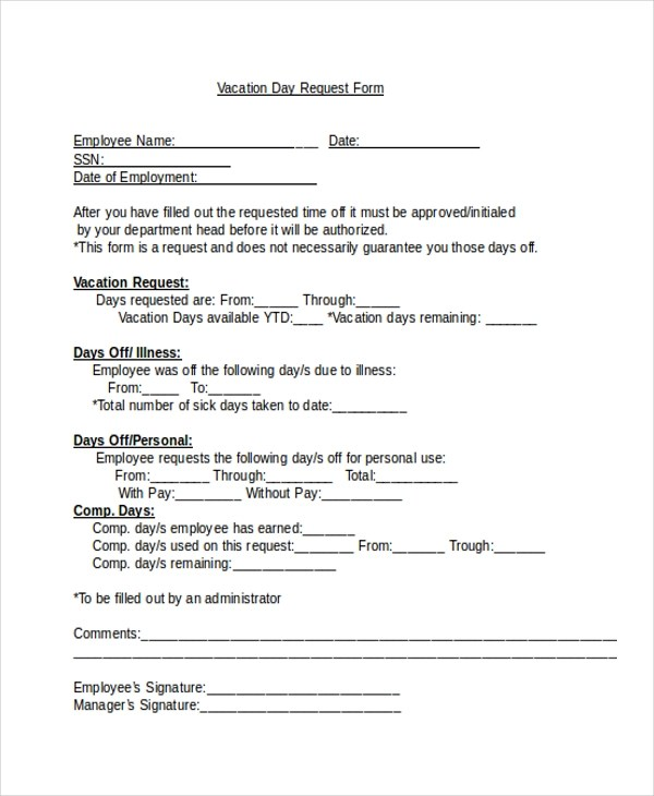 Sample Vacation Request Form - 9+ Free Documents in Word, PDF - request for time off form