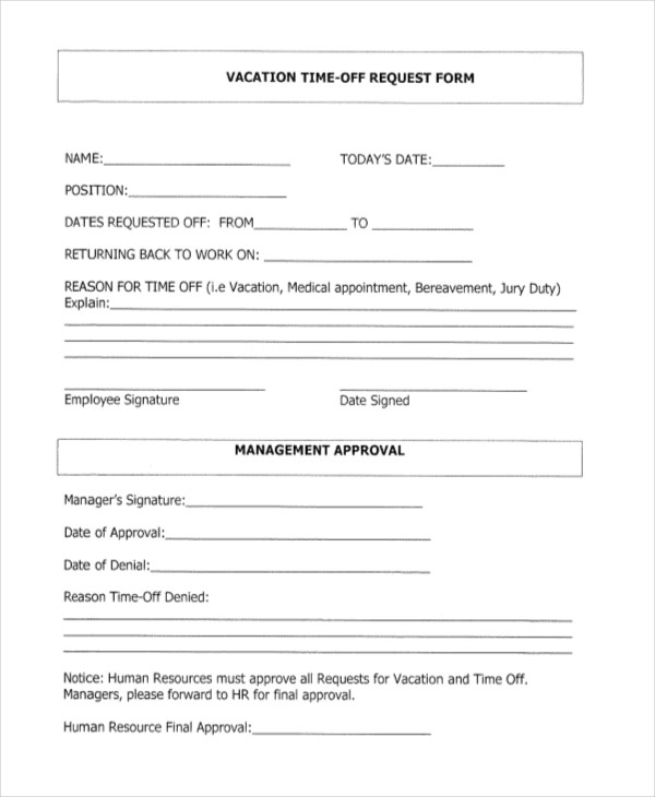 vacation time off request form - Deanroutechoice - vacation request form