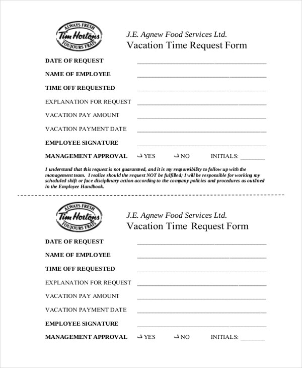 Sample Vacation Request Form - 9+ Free Documents in Word, PDF - time off request forms
