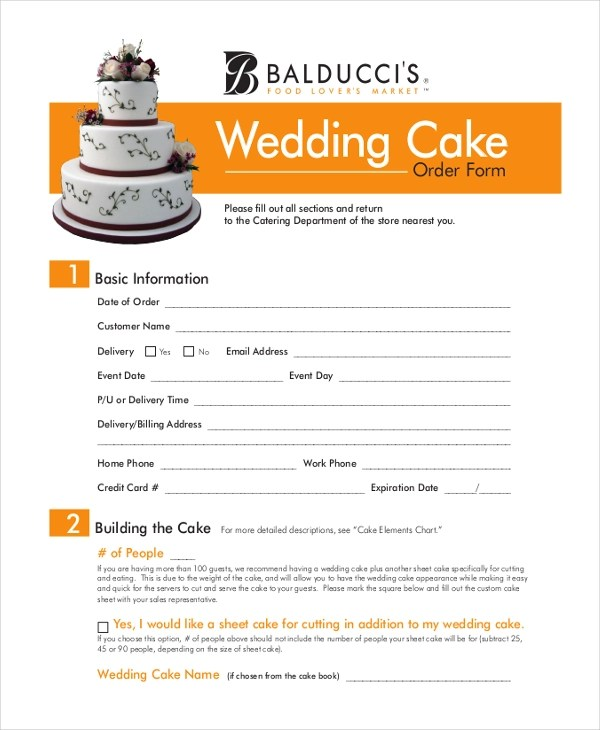 Sample Cake Order Form - 10+ Free Documents in Word, PDF - cake order form template example