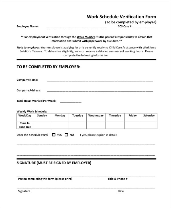 previous employment verification form pdf