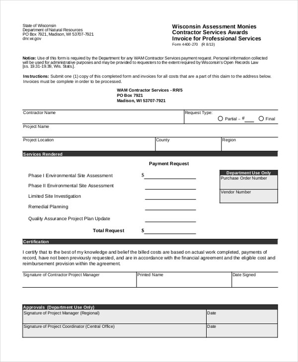 Sample Contractor Invoice Form - 9+ Free Documents in Word, PDF - contractor invoices