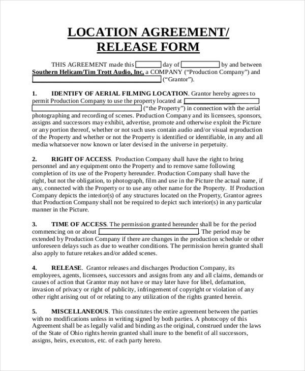 Sample Location Release Form 10+ Free Documents In PDF Publicity Release