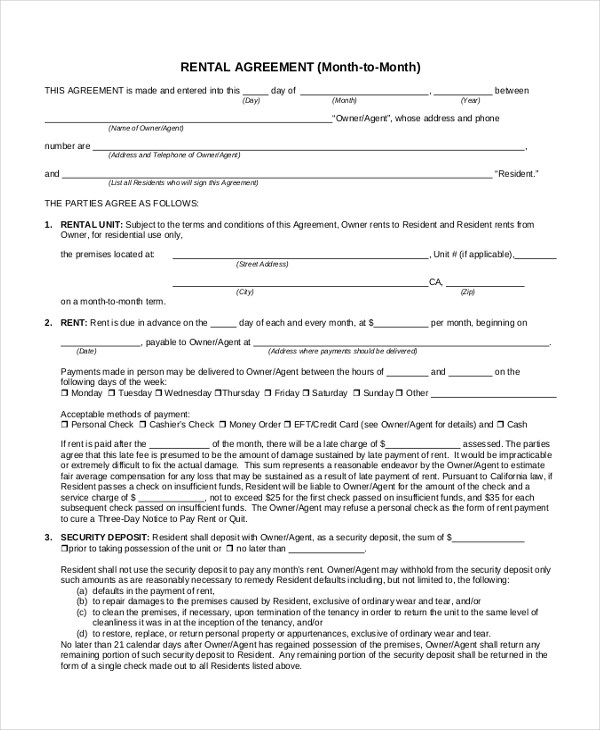 7+ Sample Month to Month Lease Form - 7+ Free Documents in PDF - commercial lease agreement sample