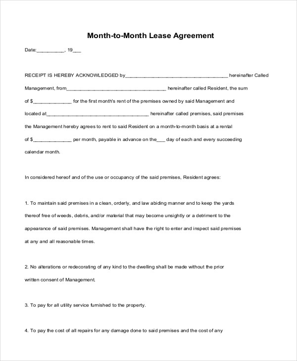 7+ Sample Month to Month Lease Form - 7+ Free Documents in PDF - month to month lease agreement example
