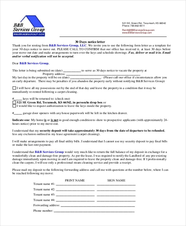 Sample 30 Day Notice Form - 9+ Free Documents in word, PDF
