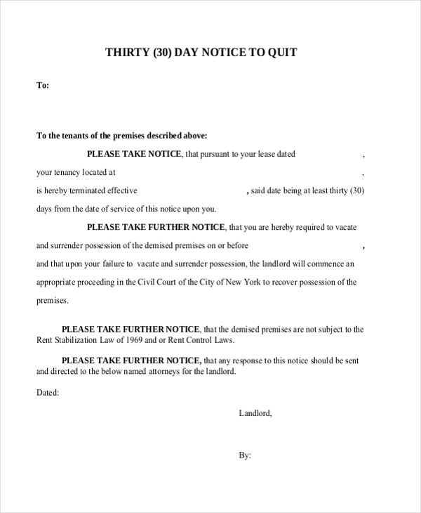 30 day notice to landlord