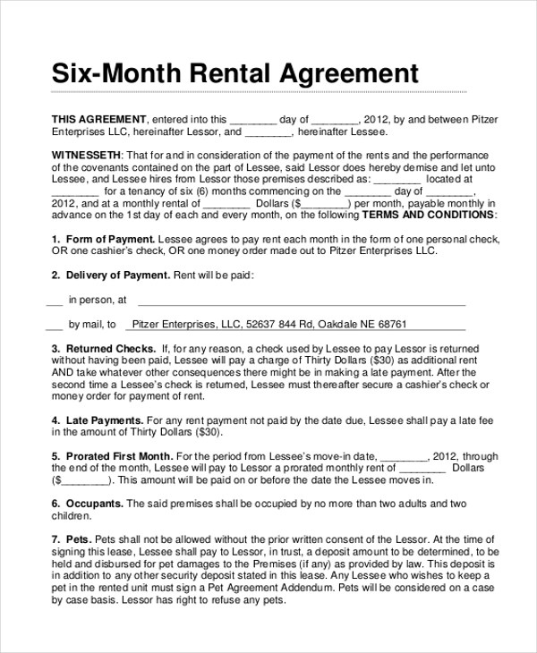 Sample Month to Month Lease Agreement Form - 8+ Free documents in - month to month lease agreement example