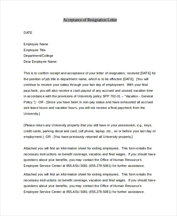 Sample Letter of Resignation - 9+ Free Documents in PDF, Doc - employment resignation letter