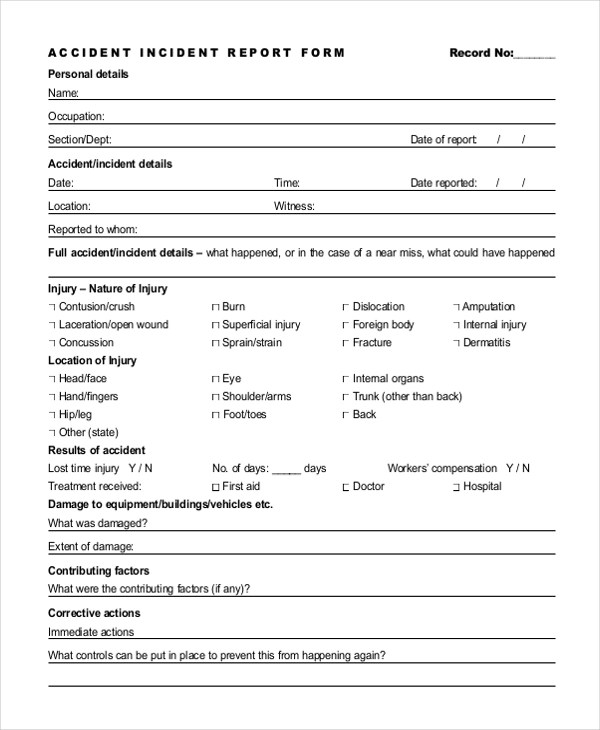 Sample Incident Report Form - 11+ Free documents in PDF - Sample Incident Report