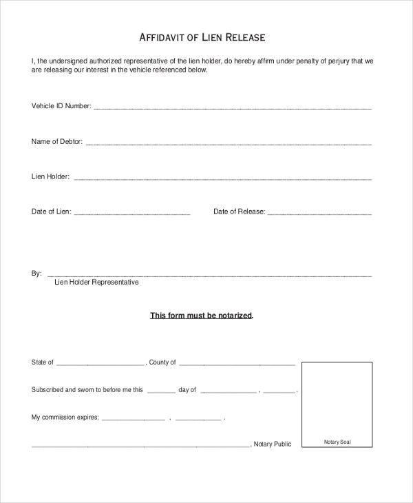 Sample Release of Lien Form - 9+ Free Documents in PDF, Doc - release of interest form
