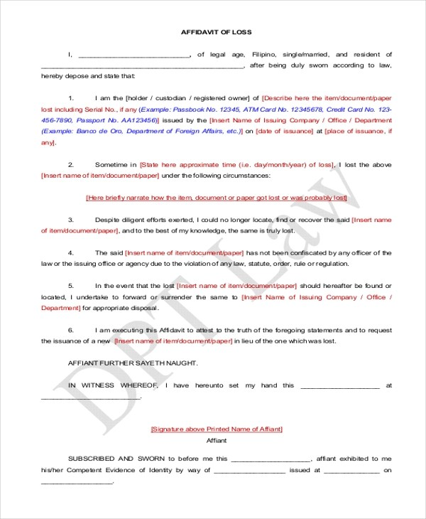 Affidavit Form Sample - 10+ Free Documents in PDF - oath of office template