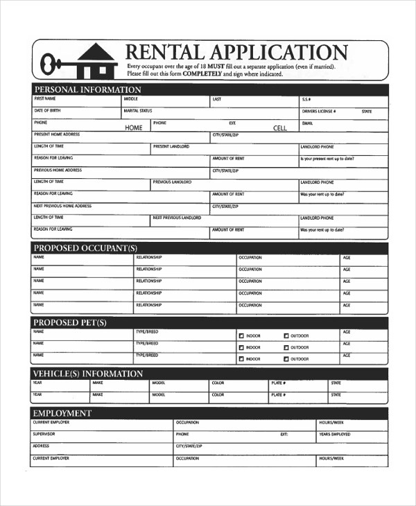 Sample Apartment Application Form - 9+ Free Documents in PDF - tenant application form
