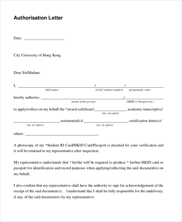 Sample Letter of Authorization Form - 9+ Free Documents in PDF - Authorization Letters Sample