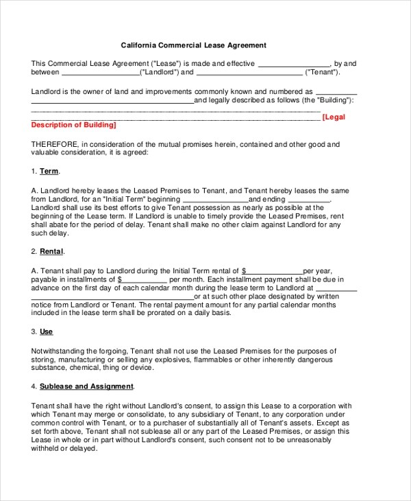 Sample Commercial Lease Form - 9+ Free Documents in PDF, Doc - property lease agreement sample