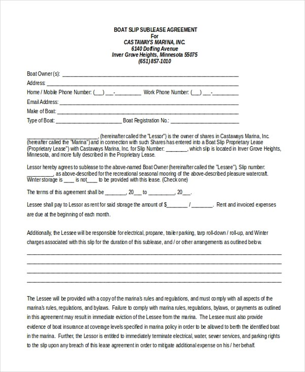 Sample Sublease Agreement Form - 11+ Free Documents in Word, PDF - parking agreement template