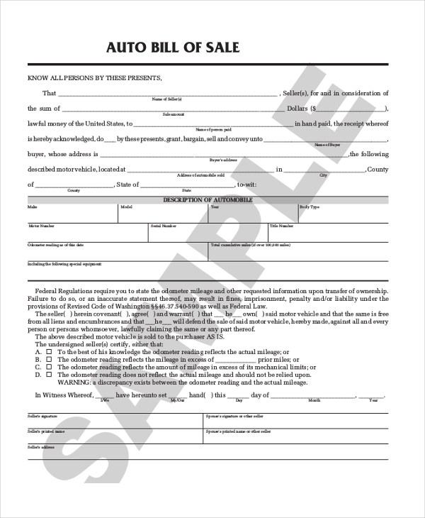 Sample Auto Bill of Sale Form - 8+ Free Documents in PDF - sample auto bill of sale