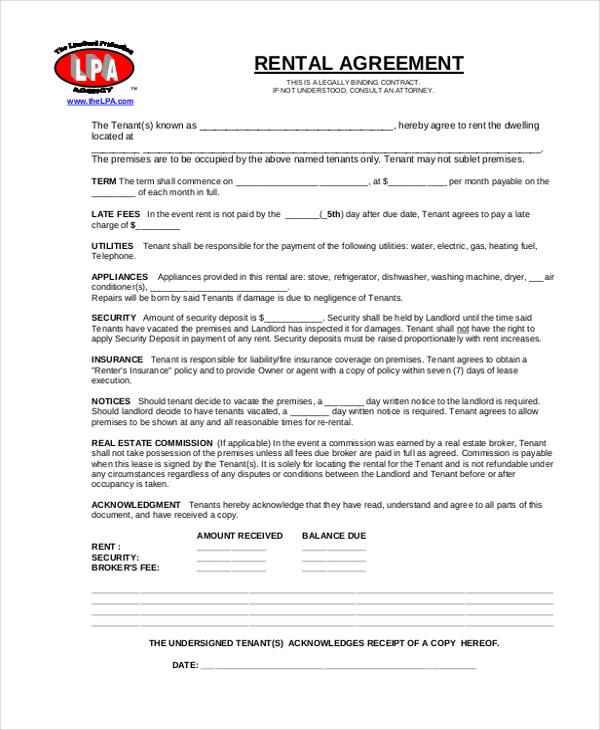 Rental Agreement Form - 11+ Free Documents in word, PDF - basic rental agreement