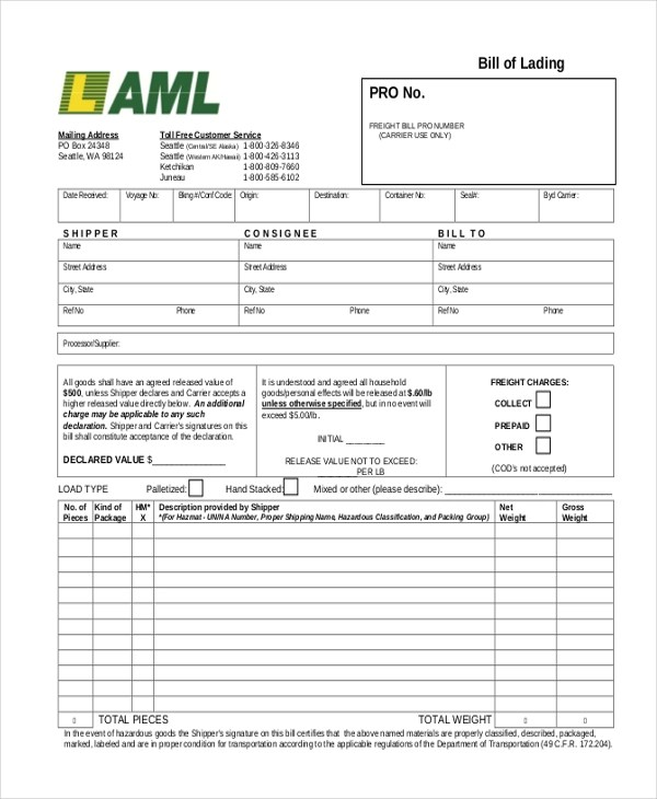 Sample Bill of Lading Form - 13+ Free Documents in PDF - truck bill of lading form