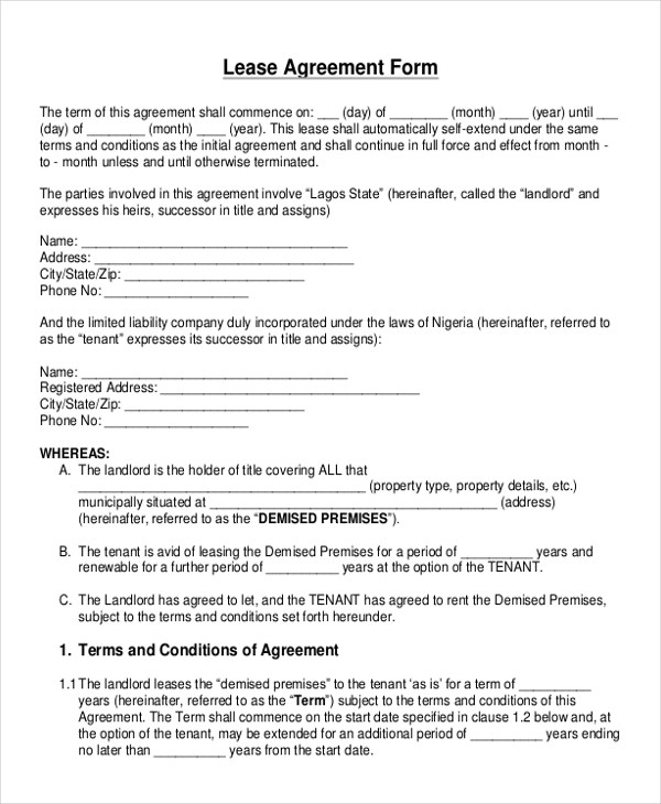 Free Lease Agreement Blank Form | Letter Of Reference Sample For