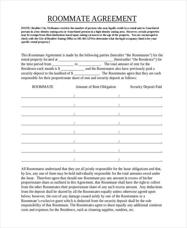 Sample Roommate Agreement Form - 12+ Free Documents in Word, PDF - roommate agreement form