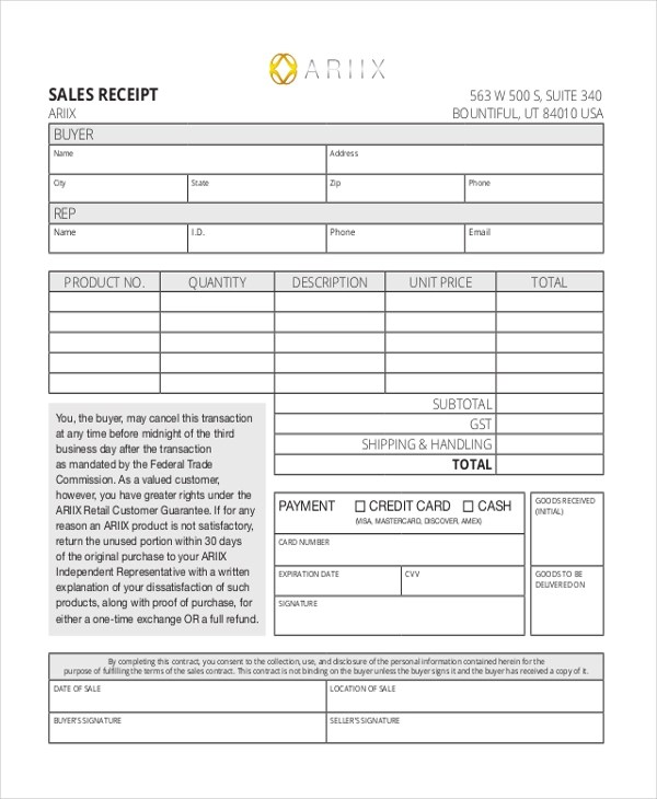 Sample Sales Receipt Form - 10+ Free Documents in Excel, PDF - blank sales contract